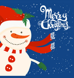 cartoon for holiday theme with snowman on winter vector image
