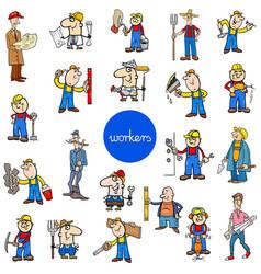 cartoon workers characters big set vector image