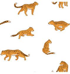 Cheetah animal in motion still seamless pattern vector