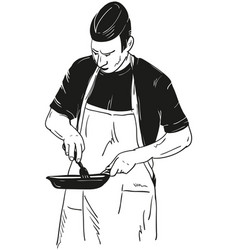 Chef with frying pan vector