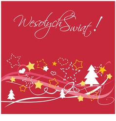 Christmas card with polish wishes vector image