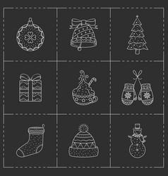 Christmas icons set line art style vector
