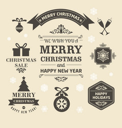 christmas logos and medals in a retro style for vector image