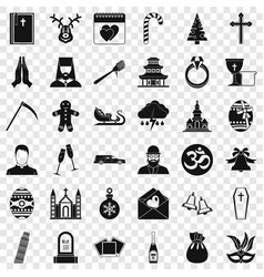 Church icons set simple style vector
