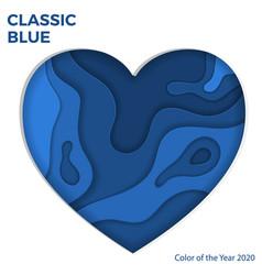 classic blue paper cut heart vector image