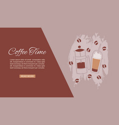 Coffee time cafe hot drinks dessert expresso and vector