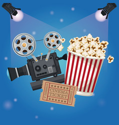 color background spotlights with ticket movie and vector image