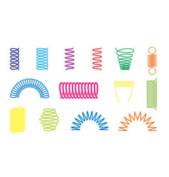 Color spiral springs different shapes icons vector