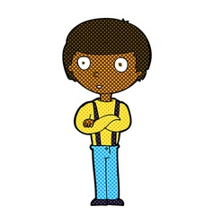 Comic cartoon staring boy with folded arms vector