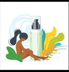 composition with woman and cosmetics vector image