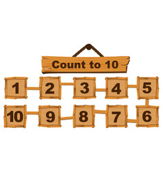 Counting number one to ten on wooden boards vector