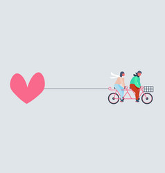 couple riding tandem bicycle with big pink heart vector image