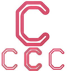 Crimson line c logo design set vector