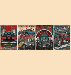 Custom cars vintage colorful posters vector