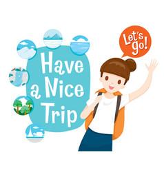 Cute female backpacker traveller ready travel vector