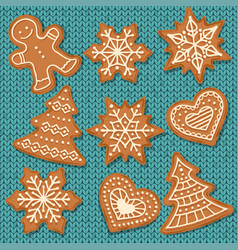 cute gingerbread elements isolated on knitted vector image