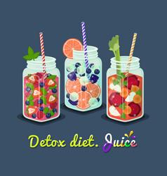 Detox diet mug fresh drink vector