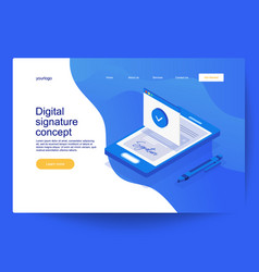 Digital smart contract isometric composition vector