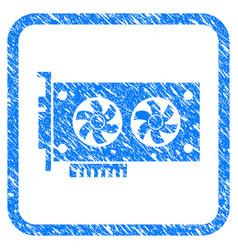 Dual gpu videocard framed stamp vector
