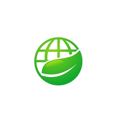 Earth globe ecology leaf nature logo vector