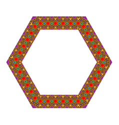 Eastern islamic colorful ornament round polygon vector