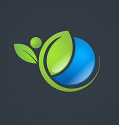 ecology natural life globe plant people logo vector image