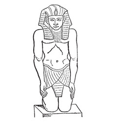 egyptian sculpture is a front view figure in vector image