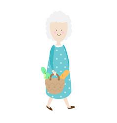 elderly woman happy old lady cartoon senior vector image