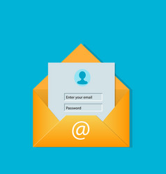 Email login screen concept vector