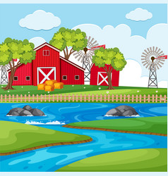 Farm scene with barns and river vector