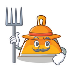 Farmer dustpan character cartoon style vector