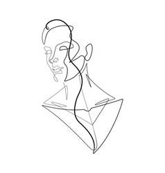 female figure continuous line graphic v vector image