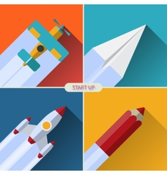 flat design concept with rocket image new vector image