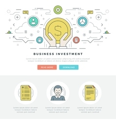 Flat line Business Investment Concept vector image