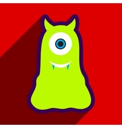 Flat with shadow Icon cyclops monster on the vector