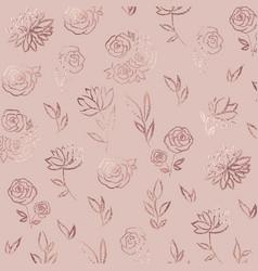 Flower pattern rose gold elegant background vector