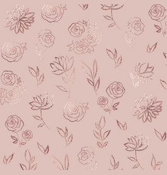 Flower pattern rose gold elegant background with vector