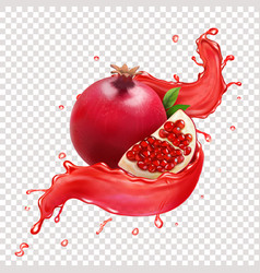Fresh pomegranate fruit in juice realistic vector