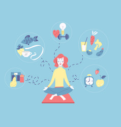 girl sitting in lotus position and meditating vector image