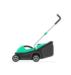 Green lawn mower vector