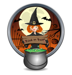 halloween banner with cute young witch and pot vector image