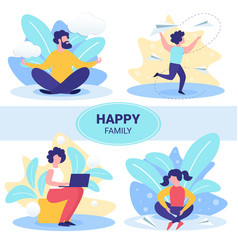 Happy family leisure flat concepts set vector