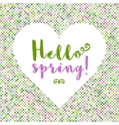Hello Spring lettering Dot background silhouette vector image