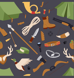 hunting icons seamless pattern isolated vector image