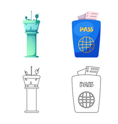 isolated object of airport and airplane symbol vector image
