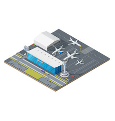 isometric airport building with airplane on runway vector image