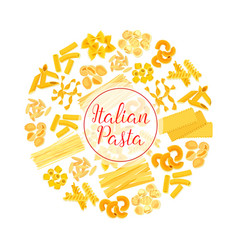 Italian pasta spaghetti macaroni round poster vector
