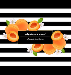 juicy peach fruits card abstract striped vector image