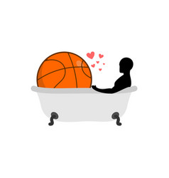 Lover basketball man and ball in bath joint vector