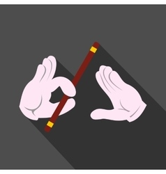 Magician hands with stick icon vector image